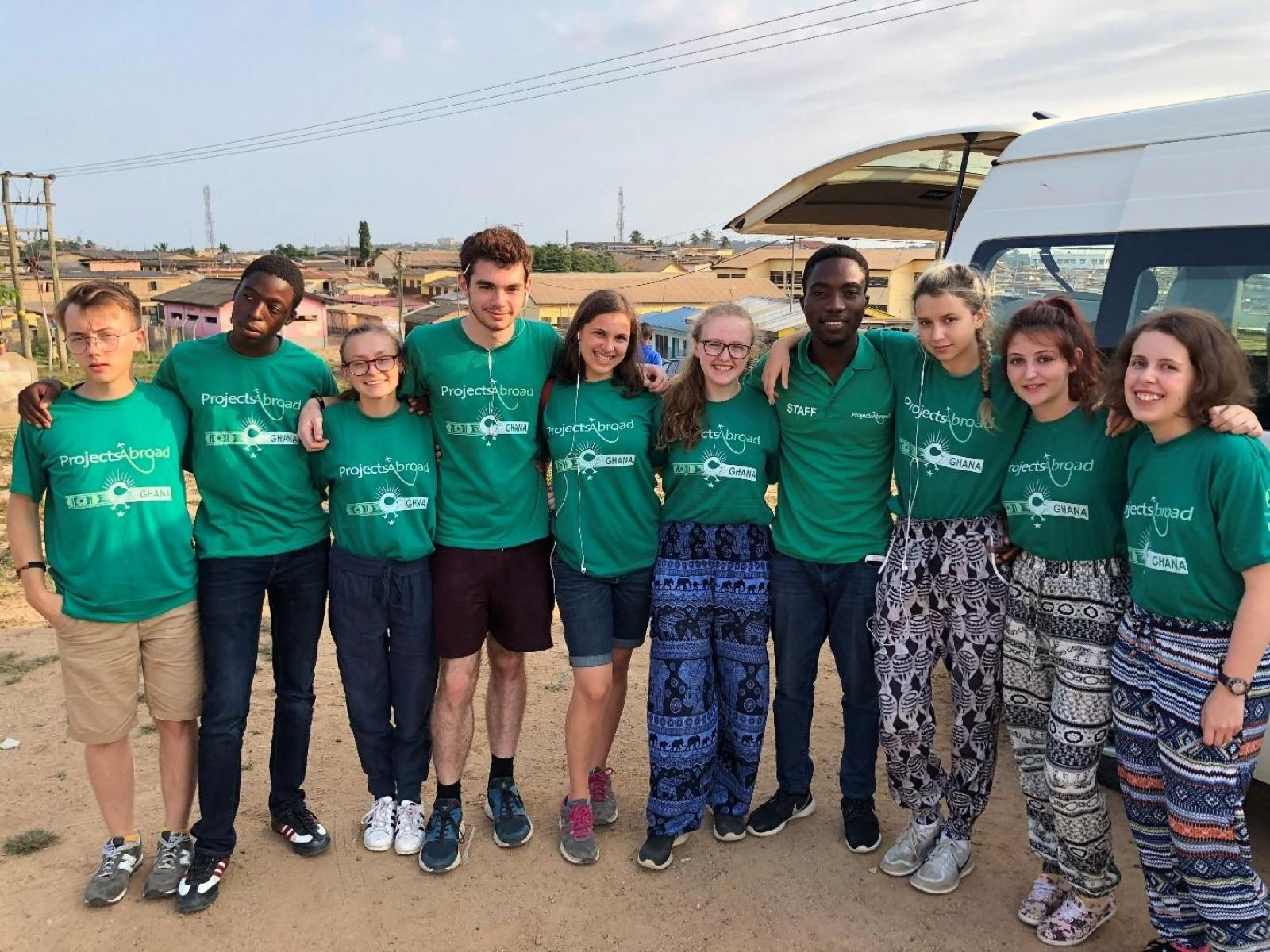 A group of high school students volunteering with Projects Abroad in Ghana